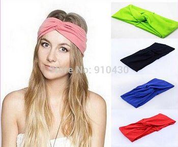 Women Stretch Twist Headband Turban Sport Yoga Head Wrap Bandana Headwear Hair Accessories Free Shipping