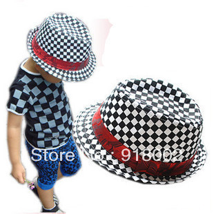retail free shipping!Black white plaid jazz cap baby spring model/child wool jazz hat/baby hats jazz cap kids
