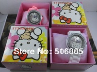 10colors Hello Kitty Watch Single diamond dial Silicone strap watches fashion candy color band shiny Dropship 20pcs