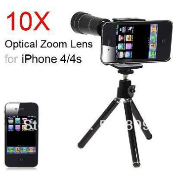 Freeshipping 10X Optical Zoom Telescope Camera Lens + Tripod for iPhone 4 4S