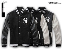 Free shipping Men's Jersey Baseball Jacket Coat Splicing Leather Sleeve Sportswear, L-XXL, High Quality