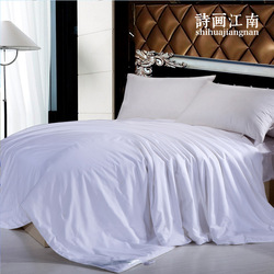 Handmade comforter made by 100% natural silk quilt with 100% cotton cover, filling net weight 500g, A1M001 White(China (Mainland))