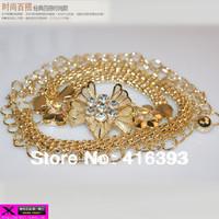 Free Shipping wholesale New Fashion Women's Nice color belt    decoration belt gold plated female tassel