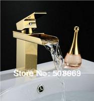 Bathroom Waterfall Golden Polished Mixer Basin Faucet Sink Faucet Vanity Wash Tap NB-1350