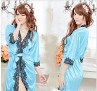Free Shipping  New Fashion Women Sexy Satin Lingerie Chiffon Sleepwear Cuff Lace Silk Robes Gown+G-string Super Sexy  SP02