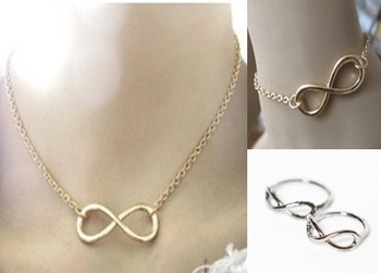 Retail & vintage vintage punk cool 8 infinity gold silver black necklace bracelet ring jewelry set