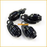 4pcs  Black Car Truck Motorcycle Bike Grenade Aluminum Tire Valve Stem Cap #3418