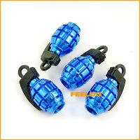 4pcs Blue Car Truck Motorcycle Bike Grenade Aluminum Tire Valve Stem Cap tracking no. #3417