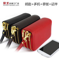 2013 genuine leather key wallet coin purse mobile phone bag card holder women's men's for iphone phone pocket s3 designer
