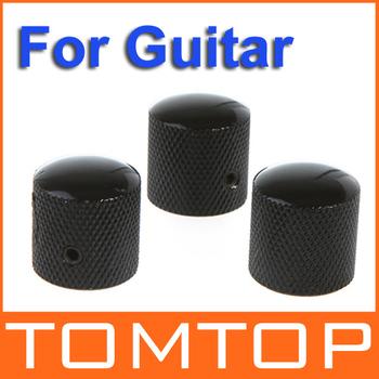 3PCS/set Chromed Metal Dome Knobs Knurled Barrel for Electric Guitar Parts Black