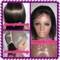 """AAAAA 2013 Custom Order: 8"""" Natural Color 100% Indian Remy Hair Full Lace Wig No Stretch add PU  wig thin skin--Short Wigs Free"""