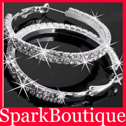 55mm Crystal Rhinestone Paparazzi Basketball Wives Double Rows Hoop Earrings Free Shipping Min.Order $5(can mix)(China (Mainland))