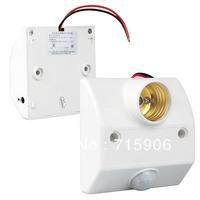 Free shipping Infrared Motion Sensor Plastic LED Lamp Bulb Light Screw Socket Base Adapter