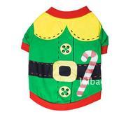 Pet supplies dog clothes Interlock green pet shirt wholesale Christmas Teddy clothes
