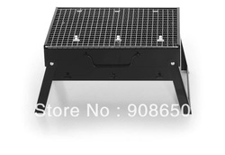 Free Shipping portable folding charcoal BBQ grill stainless steel,simple BBQ,Outdoor barbeque grill for 2-3 person use(China (Mainland))