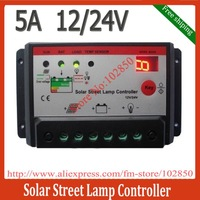 Free Shipping 12/24V auto, 5A solar charger controller regulator,led display solar light controller,lihgt+time control modes