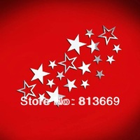19 stars new arrival hollow out star  mirror wall stickers nice home decoration wall decal for children's bedroom