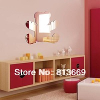 1pcs 27cm width cute bear acrylic mirror wall stickers for children's bedroom cartoon 3d sticker home & garden wall decals