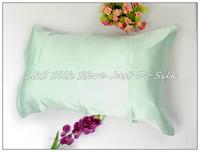 Free shipping/100% silk pillowcase/2 sides silk/pillow case/cover/envelope back/plain dyed/silk bedding/pale green/#ls1503-10