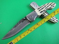 New Bone Handle High-carbon stainless Handmade Damascus Custom Forged Steel Pocket Folding Knife B26