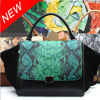 2013 ! Western Style Crocodile Pattern Bat Bag Genuine Leather Handbag Shoulder Bags Free Shipping, BB0313