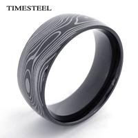 TSR074974 Fashion Men's Titanium 316L Stainless Steel Black Ripple Ring Men's Jewelry