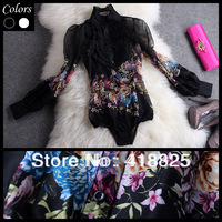 JORYA 2013 spring and summer vintage print ruffle long-sleeve slim shirt floral print black white ruffle collar brand shirt cute