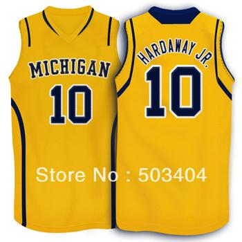Michigan Wolverines #10 Tim Hardaway Jr.Yellow NCAA College Basketball Jerseys Revolution 30 Jersey Mix Order Sz:S-XXXL