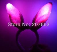 Free shipping 50pcs/lot  3mode led sexy pink light up Flashing bunny ears led flashing hair clip  led flashing headwear