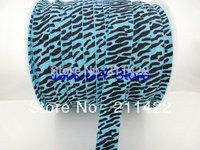 Free shipping 50yards/lot 1.5cm Animal  Blue Zebra Print FOE Fold Over Elastic for DIY Headband