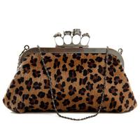 Free shipping,Ring Leopard Print Shoulder Skull Clutch Bag Handbag with Chain Purse wristlet Bags wallet Handbag TC2840