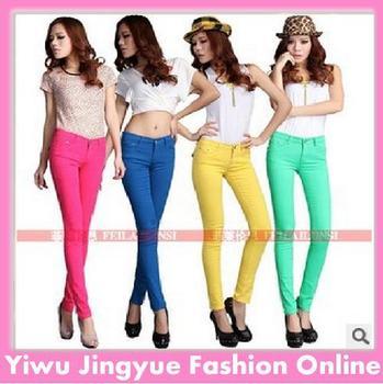 pencil pants/women jeans slim trousers cotton Elastic pants  19 colors full size26-31