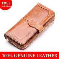 Borgaests spring Women genuine leather long design women's wallet women's wallet vintage quality cowhide clutch