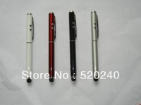 DHL 200pcs 4 in 1 Stylus Pen Touch Pen With LED Light 4 Colors Free Shipping