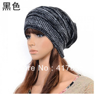 Free Shipping 2013 new winter warm knitted pullover Sports Skullies wool hat for women black hat  m1070-1