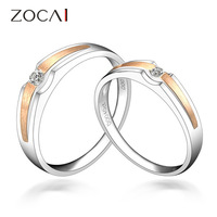 ZOCAI  0.18 CT CERTIFIED H/SI DIAMOND HIS AND HERS WEDDING BAND COUPLE RINGS SETS 18K WHITE ROSE DUAL COLORED GOLD