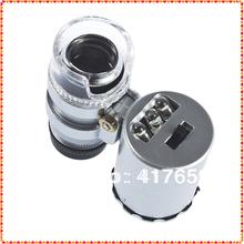1pcs Bolso Mini 60X Microscópio Lupa 3 LED com uma bolsa de couro falso Dropshipping atacado(China (Mainland))
