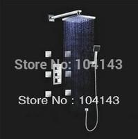 "Brand New 12"" LED Head Massage Jets 6 Luxury Thermostatic Shower Set Body Spray  LJ-50023C"