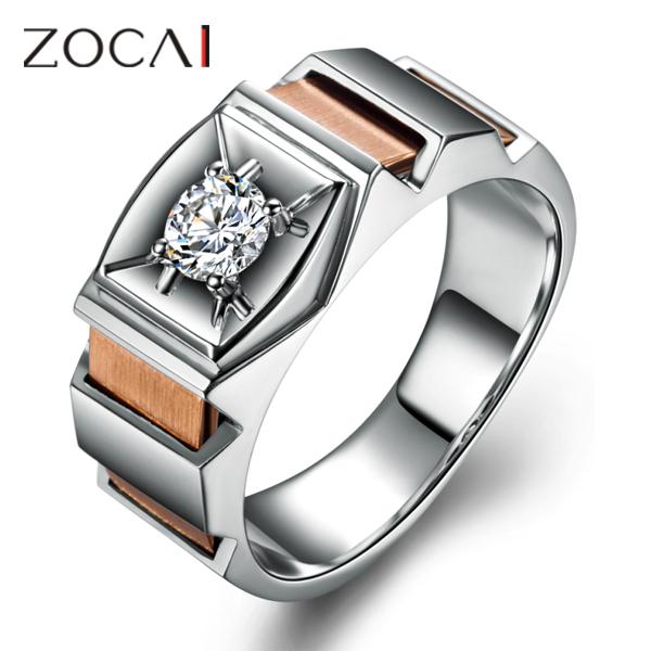 ZOCAI BRAND 028 CT CERTIFIED VS H DIAMOND MENS WEDDING BAND RING ROUND CUT 18K WHITE GOLD ROSE