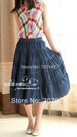 Free shipping 2014 Preppystyle white sewing thread puff skirt denim skirt bust skirt summer women's  jeans long skirt