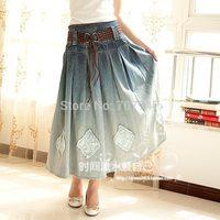 Free shipping Formal patch gradient color denim skirt 2014 fashion long skirt women's bust skirt  jeans belt a-line skirt