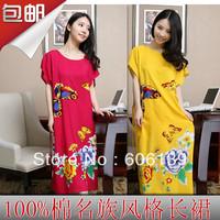 Sexy temptation long design nightgown plus size slim waist butterfly print 100% cotton nightgown Women sleepwear