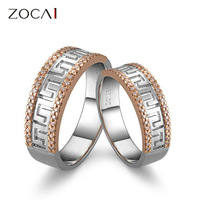ZOCAI  BRAND NATURAL 0.31 CT H / SI DIAMOND HIS AND HERS WEDDING BAND RINGS SETS 18K WHITE ROSE DUAL COLORED GOLD