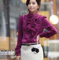 2014 New Fashion Long Sleeve Women Blouses Casual Spring Ruffles Women Shirts Brand Plus Size Women Clothing