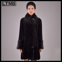 Women mink fur coat long style turn down collar full sleeve fashion black fur coat for female luxury outerwear 2014