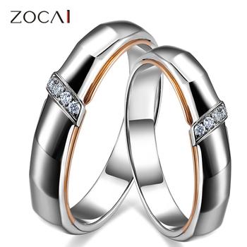 марка природных zocai 0,04 карат ч/алмазов си его и ее обручальное кольцо кольца мноёеств 18k белая роза двойной цветными золота