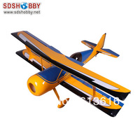 "New 71"" Pitts 50CC RC Model Gasoline Airplane ARF /Petrol Airplane Black & Blue & Yellow Color"