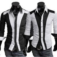 Stitching Mixed Colors Slim XL Men Shirt Brand Turn-Down Collar Long Sleeve Cotton Casual Shirts Mens 8.19 Sale New Fashion Top