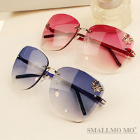 Free Shipping Butterfly 2013 Europe And America Big Metal Box Frameless Sunglass Authentic Sunglasses For Man& Women Frog Mirror