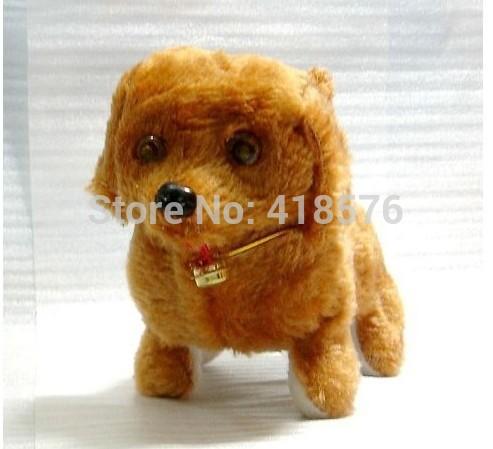 Fashion Cute Plush 2014 Child Animal Doll Dog Toy Barking Walking Backwards With Flash Eye Electronic Kids GIft(China (Mainland))